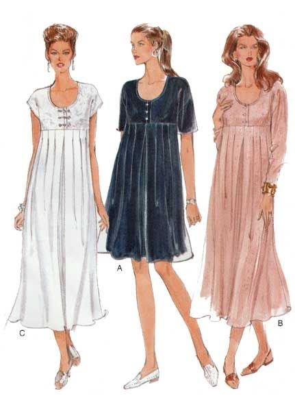 4a807ad78ad6a UNCUT Easy Options Vogue 9265 Women's Maternity Dress Sewing Pattern;  Pullover dress, above mid-knee or lower calf, has shoulder pads,  loose-fitting bodice, ...