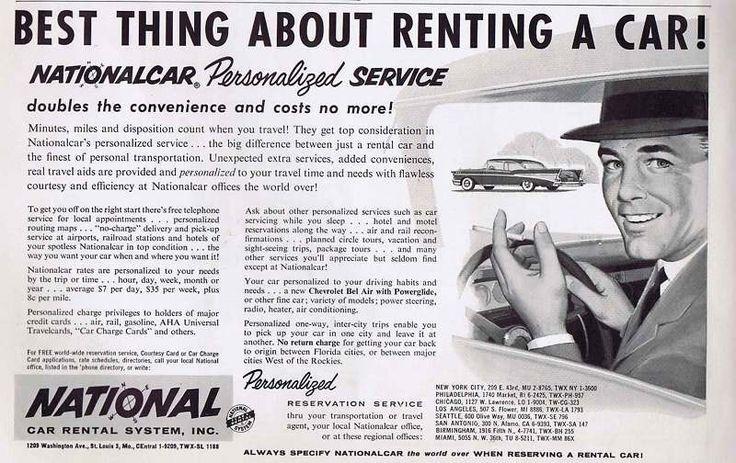 Details about 1957 National Car Rental Service Original