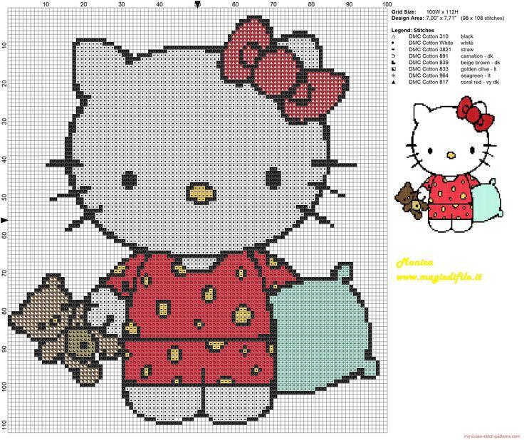 Hello Kitty dormir grille point de croix