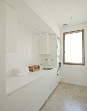 modern white laundry room