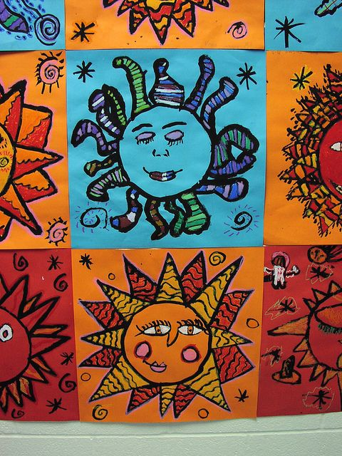 Sun and moon - warm/cool colors, pattern, line  Could draw in sharpie and color with colored pencils