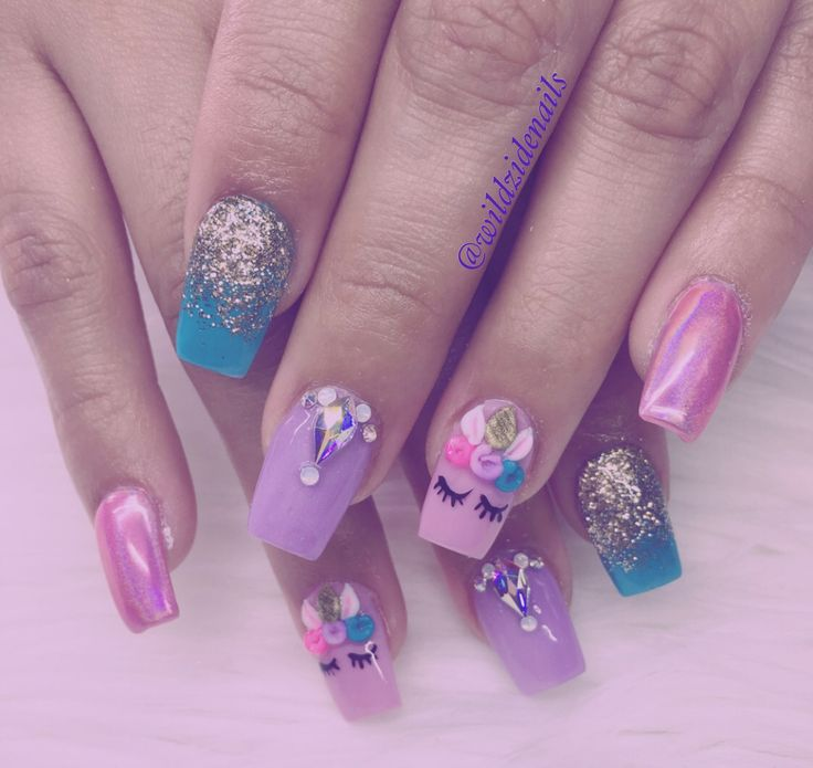 Unicorn nails by wildzide nails
