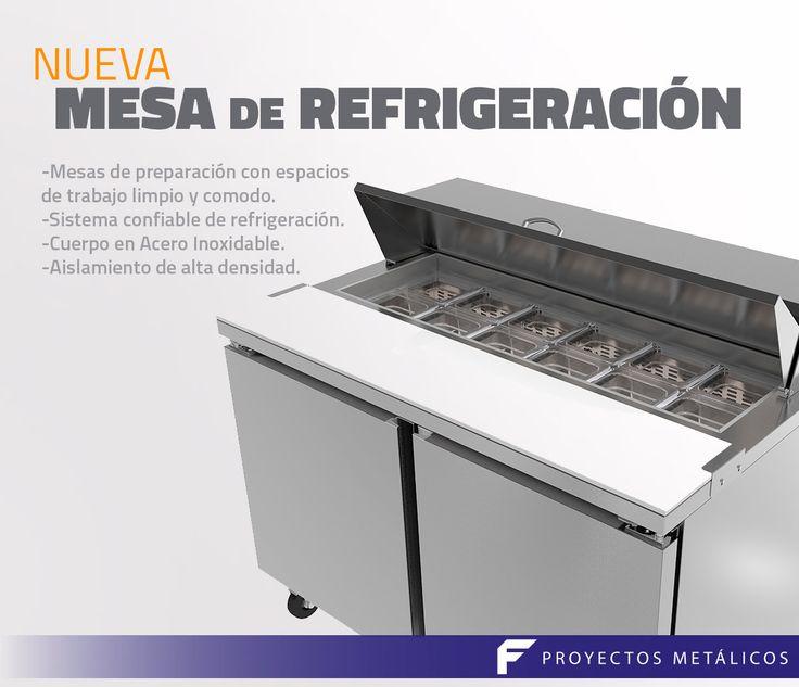 Mesa de refrigeración con espacio para preparación, cuerpo en acero inoxidable y aislamiento de alta densidad.