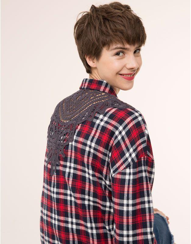 Pull&Bear - femme - blouses et chemises - chemise à carreaux broderie - rouge - 09471322-V2016