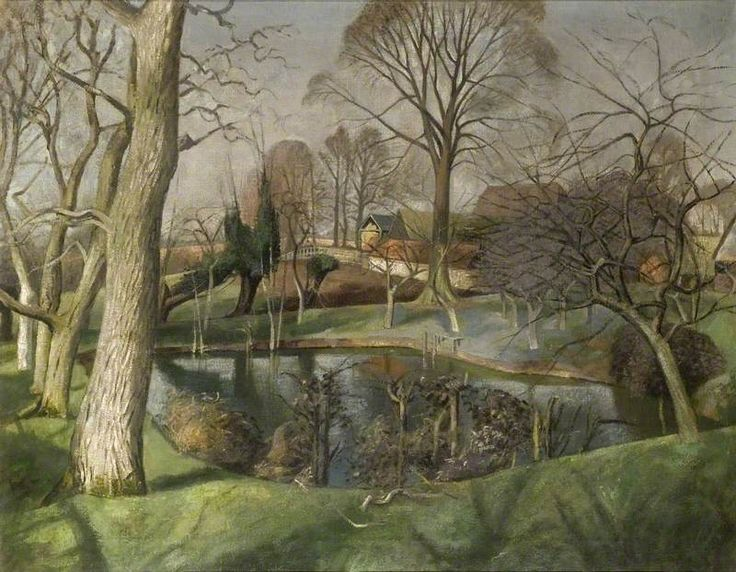 John Arthur Malcolm Aldridge  -  Beslyn's Pond, Great Bardfield ,  Oil on canvas, 62.2 x 80.4 cm, Fry Art Gallery.