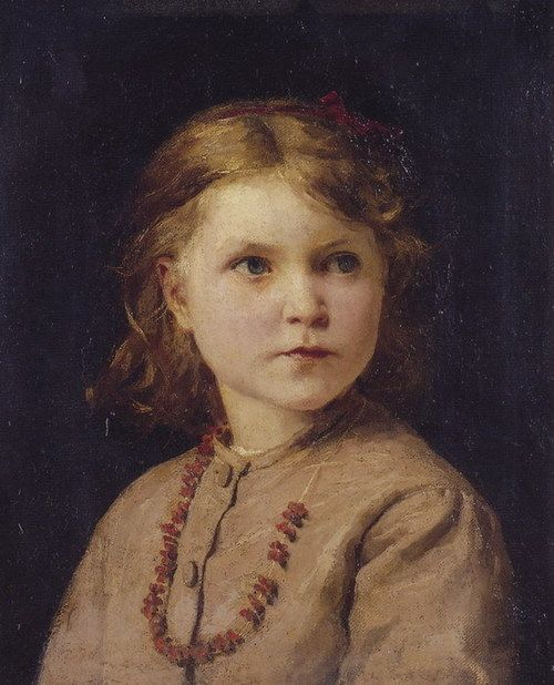 """""""Portrait of a Girl with Red Necklace"""" (Date unknown), by Swiss artist - Albert Anker (1831-1910), Medium unknown, Dimensions unknown, Location unknown."""