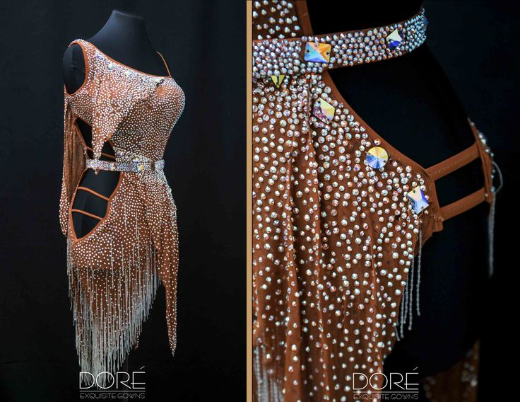 Nude Latin with Crystal Beaded Fringe