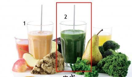 Recept – smoothie med grönsakerIngredienser till 1 person: Ca 150 g broccoli Ca 50 g grönkål ½ päron Lite persilja Salt och nymalen peppar 1,5 dl färskpressad äppeljuice Tillagning: Mixa alla ingredienser till en jämn massa. Det kan knappast bli grönare eller nyttigare än så här. Om du tycker att smoothien är för tjock kan du eventuellt tillsätta lite mer äppeljuice, så att den blir mer flytande.