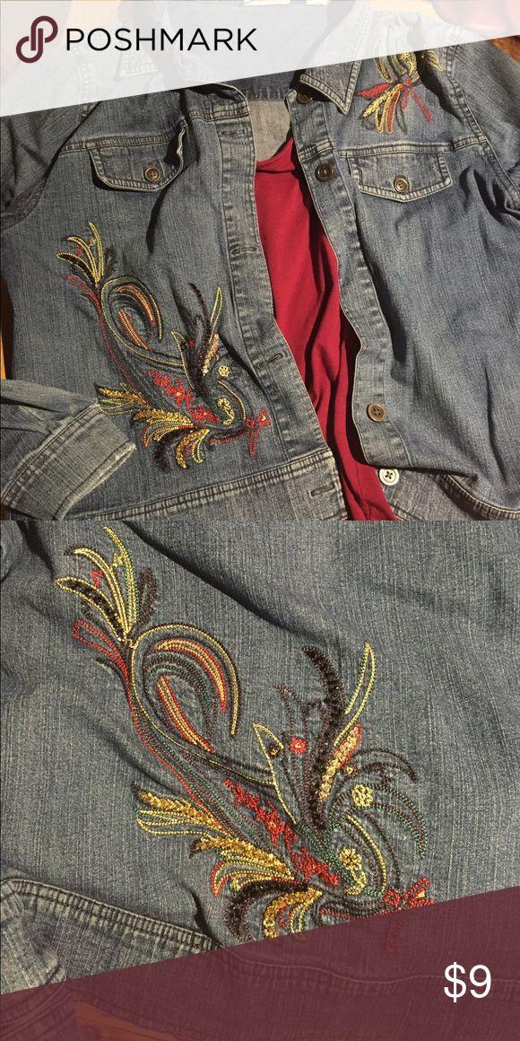 Denim Embroidered Jacket Denim Jacket with embroidered sassy sequin design front and back. marsh landing Jackets & Coats Jean Jackets