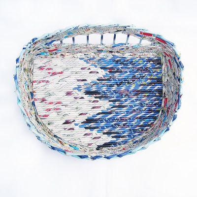 paper art, koszyk z gazety, recykling art