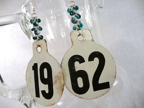Cattle Tag Earrings  Metal Numbered Disc with by GrandFernAlley, $23.00