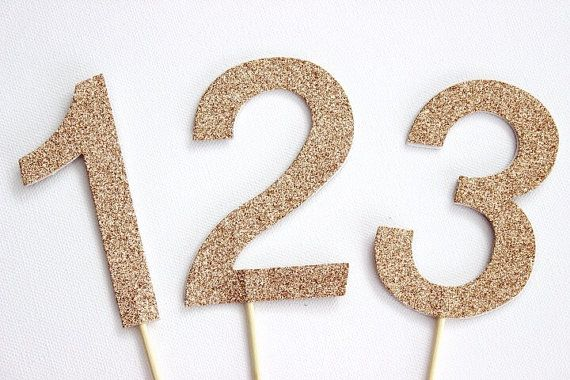 10cm Number Cake Toppers/Cake Pokes/Table Numbers. Gold or Silver Glitter. Birthday - Table Numbers - Anniversary.