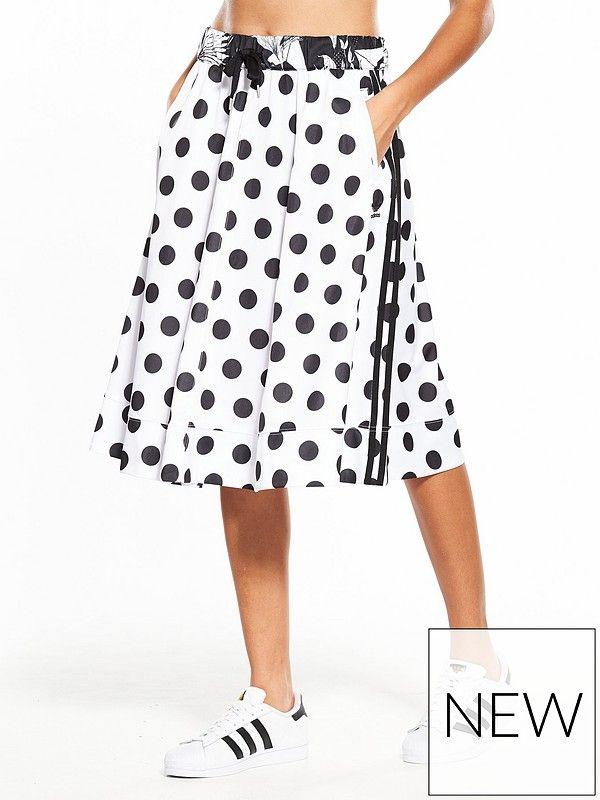 50d8c70404b adidas Originals X Farm Midi Skirt Polka prints and a botanical waist band  elevate this midi