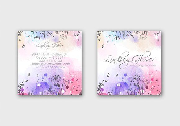 Watercolor Business Card Template by Awesome Templates  on @creativemarket Ad