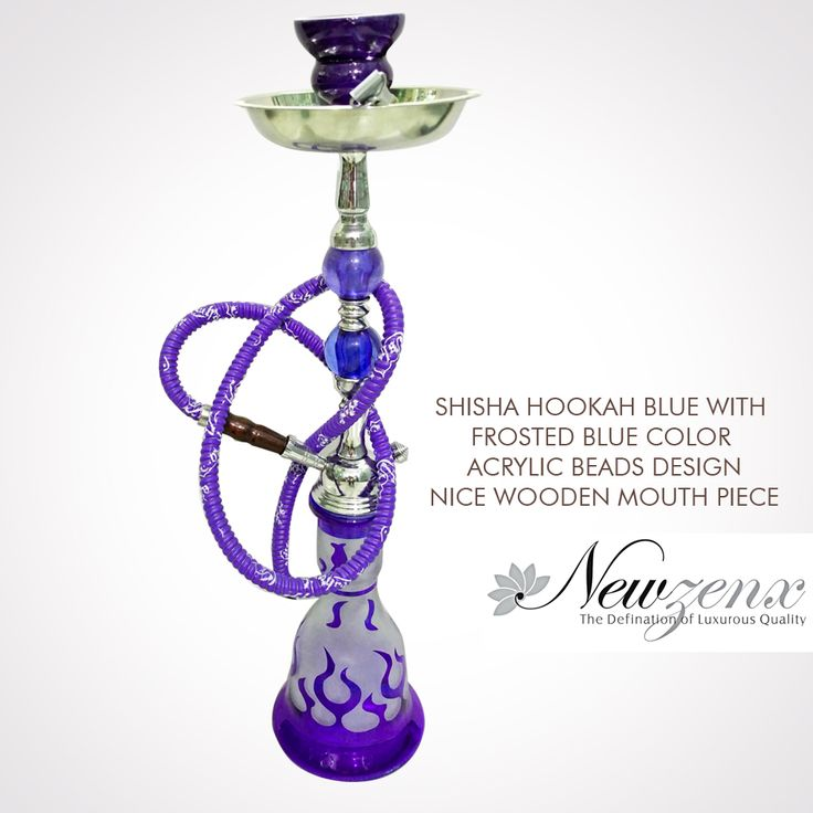"Shisha Hookah Blue 21"" -New Zenx Size: 21"" Weight:1100gm Shisha Hookah Blue with frosted blue color acrylic beads design , nice wooden mouth piece. Shop Now :- www.newzenx.com #newzenx #shishahookah #smokingglass #glasspipe"
