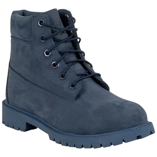 Timberland Women's 6-Inch Premium Waterproof Lace Up Boot ($130) ❤ liked on Polyvore featuring shoes, boots, navy, lined rubber boots, laced boots, navy blue shoes, navy blue boots and rubber sole shoes