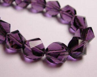 Cristallo sfaccettato nugget contorto 9 mm - 70 perline - qualità AA - viola - completo 26 pollici perline