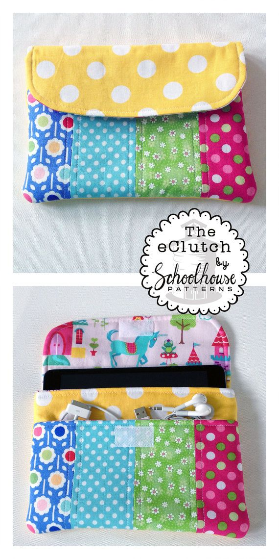 Sewing pattern for a pretty place to keep your tablet, earbuds and charging cable organized and safe.