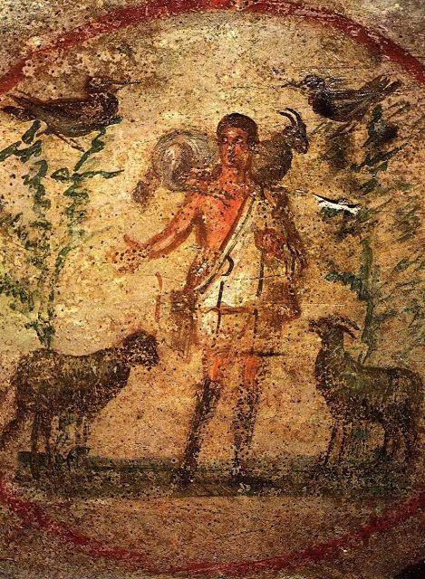 Buen Pastor. Siglo II. Cripta de Lucina. Catacumbas de San Calixto. Roma.