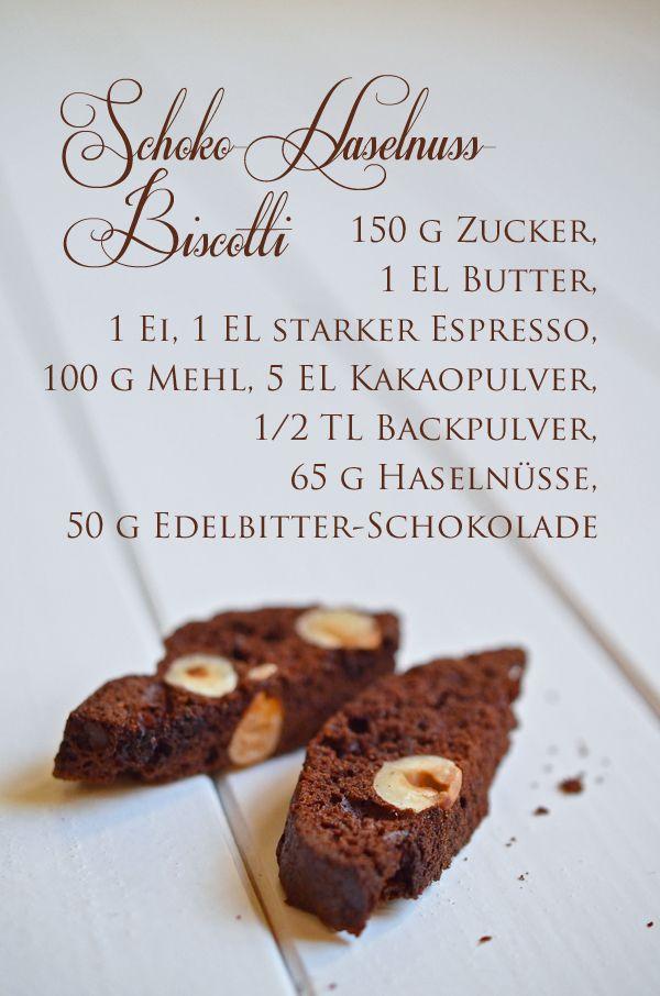 Rezept für Schoko-Haselnuss-Biscotti (www.rheintopf.com) #chocolate #dessert #food