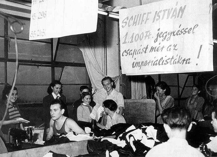 Békekölcsönjegyzés a Vörös Október Férfiruhagyárban, 1950.