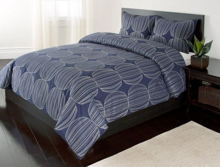 3pc Full/Queen Harrison Blue and White Duvet Cover Bedding Set -100% Cotton-