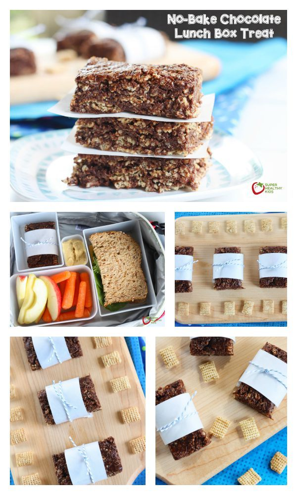 No-Bake Chocolate Lunch Box Treat - Perfect treat to send to school - nut free, gluten free,  and so amazing! Your kids won't even know how much nutrition is packed in it. http://www.superhealthykids.com/no-bake-chocolate-lunch-box-treat/