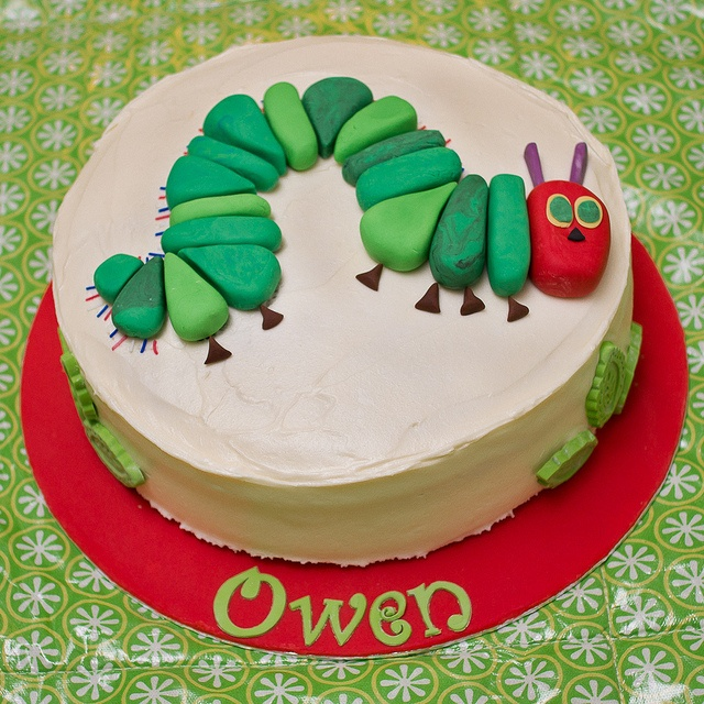A Hungry Caterpillar carrot cake with yummy cream-cheese frosting