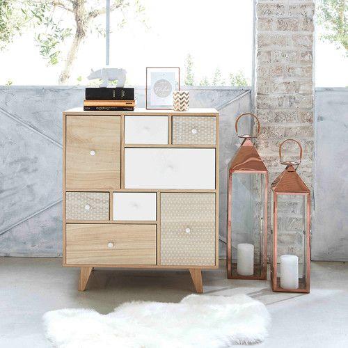Cabinet 8 tiroirs en paulownia bicolore