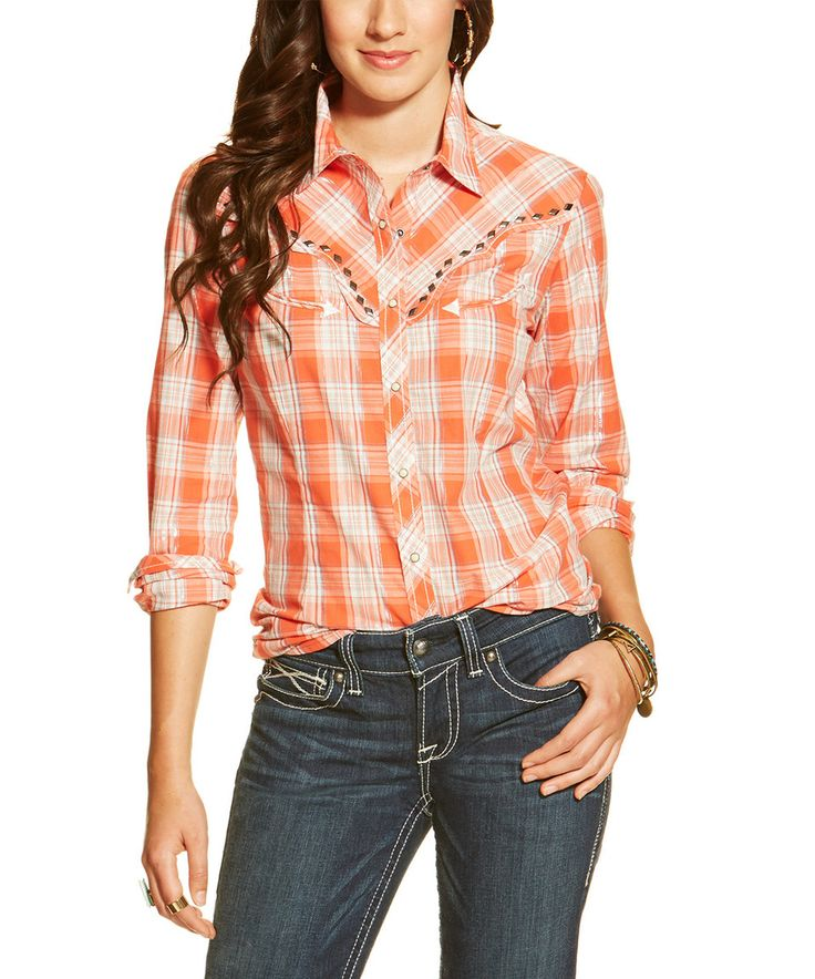 This Orange & White Plaid Roadtrip Snap Shirt - Women by Ariat is perfect! #zulilyfinds