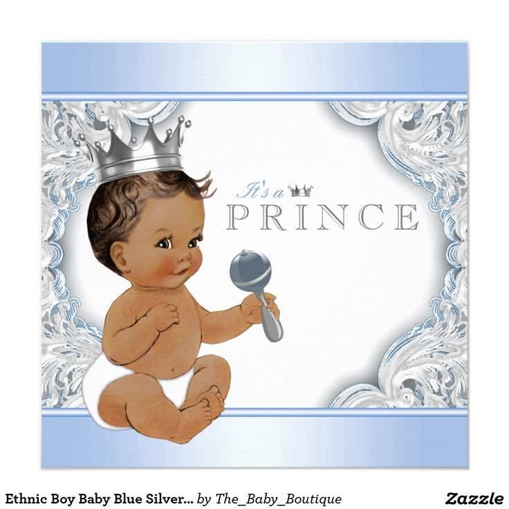 Ethnic Boy Baby Blue Silver Prince Baby Shower Invitation