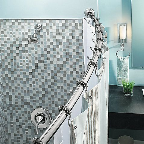 transform your bathroom with the moen adjustable curved shower rod in chrome
