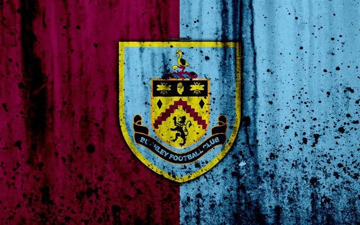 Download wallpapers FC Burnley, 4k, Premier League, logo, England, soccer, football club, grunge, Burnley, art, stone texture, Burnley FC