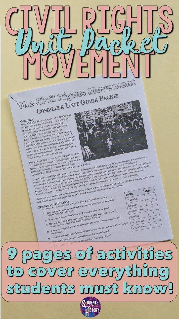Civil rights movement study guide and unit packet in 2020