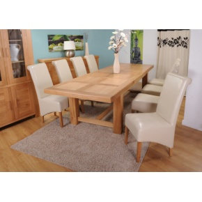 Grand Marseilles Large Oak Dining Table with 8 Krista Ivory Leather Chairs - Set  www.easyfurn.co.uk