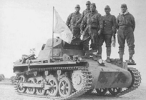 Japanese army.  Tank crew of  a german made PzKpfw 1 #worldwar2 #tanks
