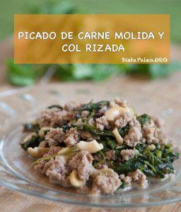 Picado de carne molida y kale - Dieta Paleo