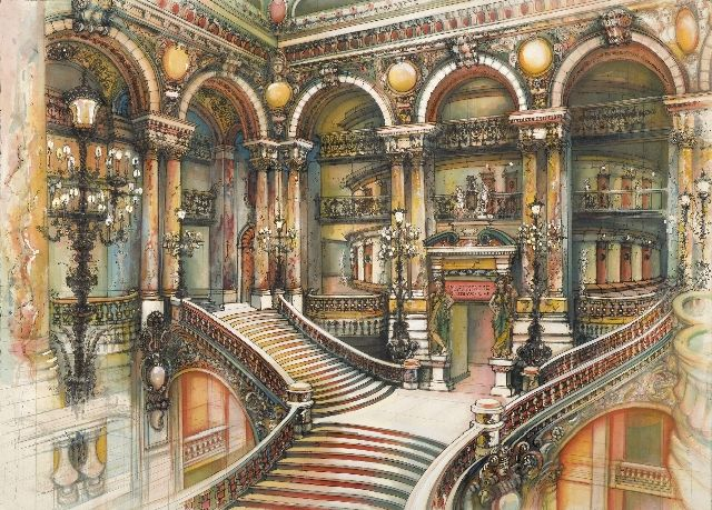 """Grand Stair"" (Paris Opera House) by Elizabeth Ockwell Pencil, Pen and Ink and ..."