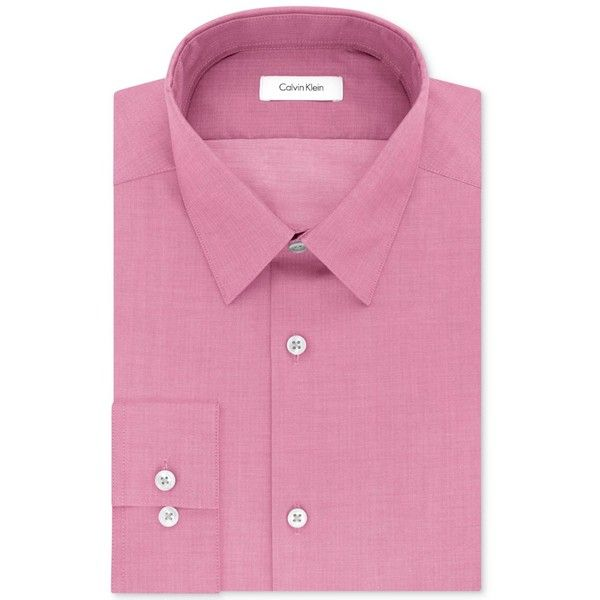 Calvin Klein Steel Men's Slim-Fit Non-Iron Performance Herringbone... (£40) ❤ liked on Polyvore featuring men's fashion, men's clothing, men's shirts, men's dress shirts, med pink, mens slim fit dress shirts, mens slim fit shirts, mens non iron dress shirts, mens wicking shirts and mens slim shirts
