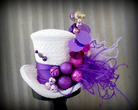 Christmas Purple and Fuschia Mini Top Hat, Alice in Wonderland, Mad Hatter Hat, Steampunk Christmas,Tea Party Hat, New Year's Mini Top Hat