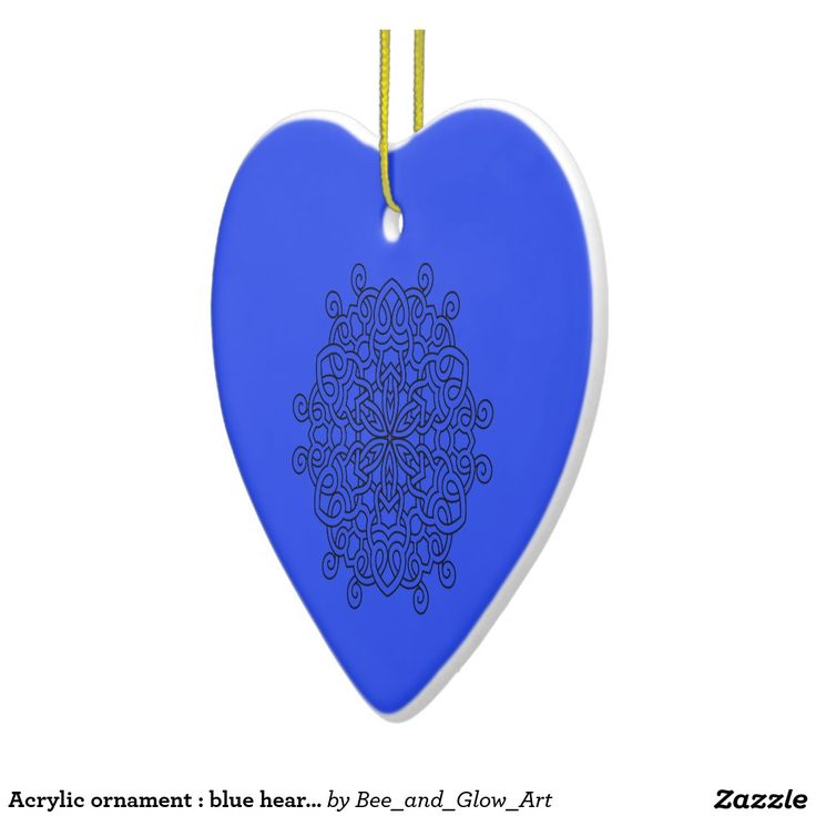 Acrylic ornament : blue heart with mandala