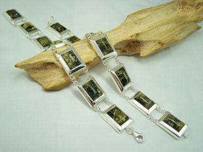 Amber bracelet - green amber stones and silver.