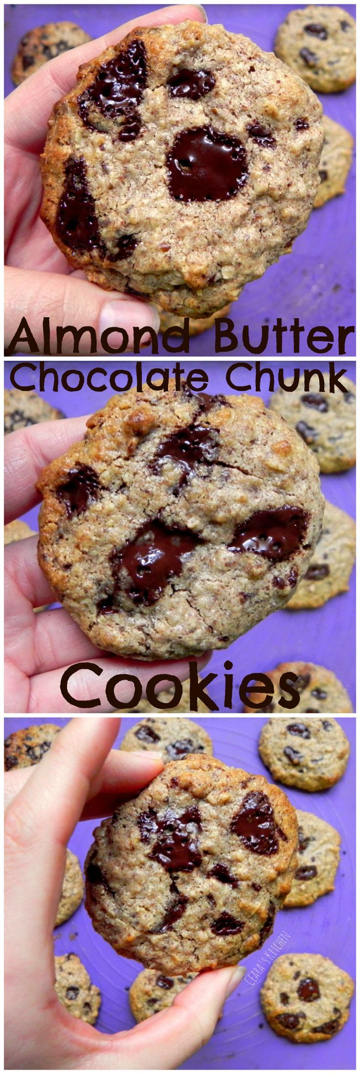 Flourless Almond Butter Chocolate Chunk Cookies - chewy & soft in the middle, crispy around the edges & filled with delicious chocolate chunks! Secretly #Healthy #Vegan & #Glutenfree - Ceara's Kitchen