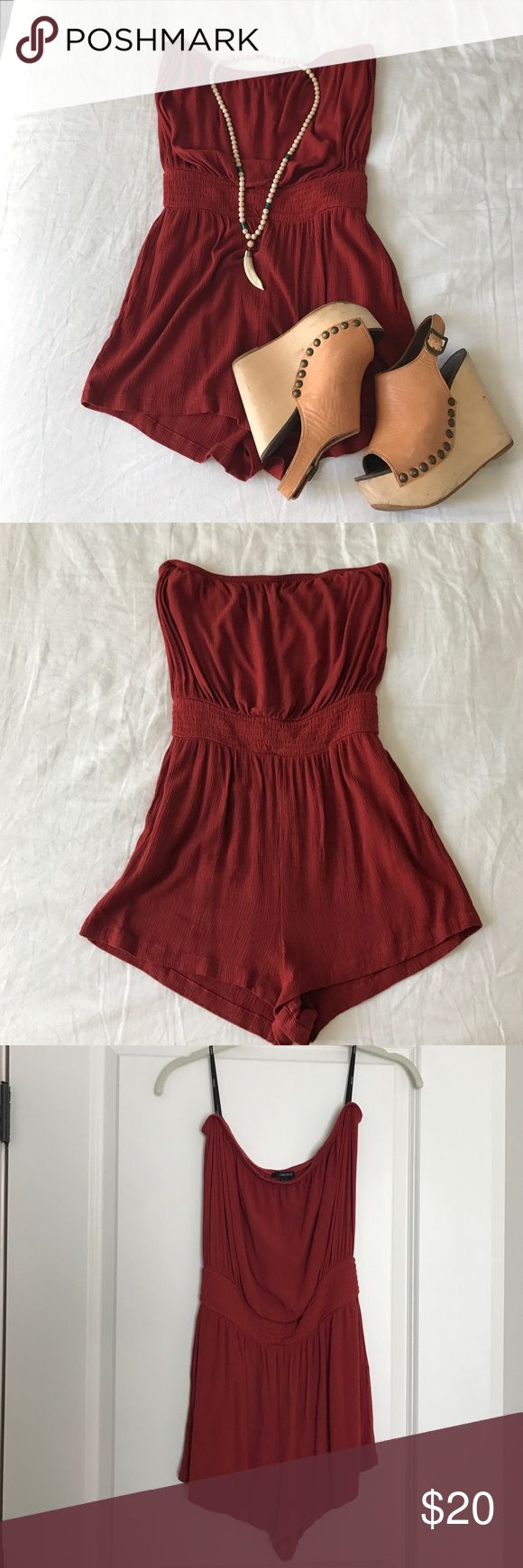 Women's Strapless Romper Burnt orange. Strapless. Pockets. Cinched waist. Super comfy and flattering. Can we worn with wedges, sandals, jean jacket, layered necklaces, so many ways!! Forever 21 Other