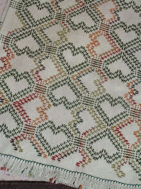 Double Tumbling Hearts Swedish Weave Blanket                                                                                                                                                                                 More