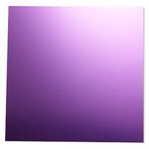 Sheet, anodized aluminum, purple, 5-3/4 x 5-3/4 inch square, 20 gauge. Sold individually.