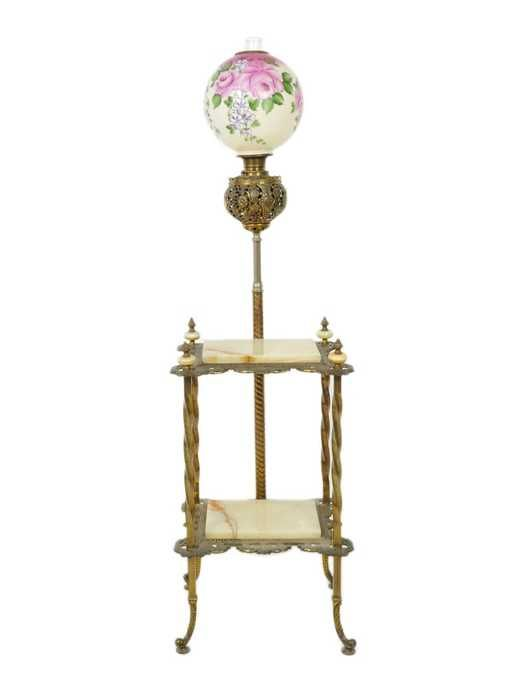 Lot: 72: A VICTORIAN BRASS PIANO LAMP WITH DUAL ONYX AND BRA, Lot Number: 0072, Starting Bid: $200, Auctioneer: Morton Auctioneers and Appraisers, Auction: Antiques & Interiors, Date: June 30th, 2011 EDT