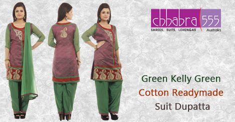 Buy Green Kelly Green Cotton ‪‎Readymade Suit Dupatta‬ in @ $145.95 AUD fom collections of over 4000 unique products - design, colour and fabric scheme of ‪‎Chhabra555‬ in ‪Australia‬.