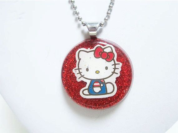 Hello Kitty Resin Pendant Necklace by ElizabethsPearlz on Etsy, $15.00
