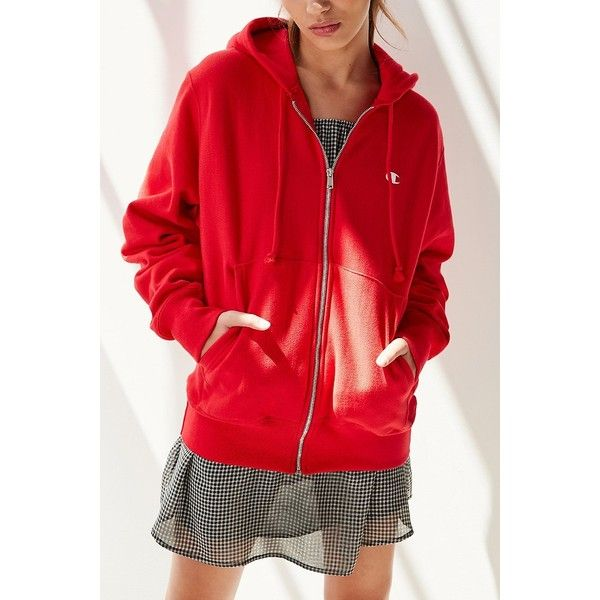 Champion Zip-Up Hoodie Sweatshirt ($60) ❤ liked on Polyvore featuring tops, hoodies, red hoodie, zip up hoodie, hooded pullover, zip up top and red top
